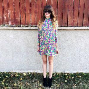 Vintage Sixties Mod Boho Mini Dress